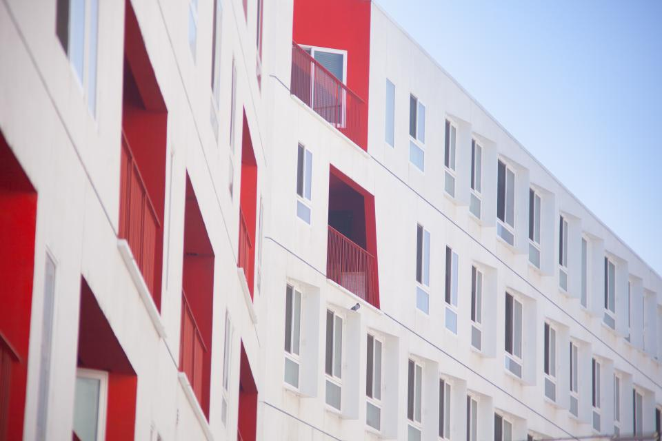 architecture red white building infrastructure
