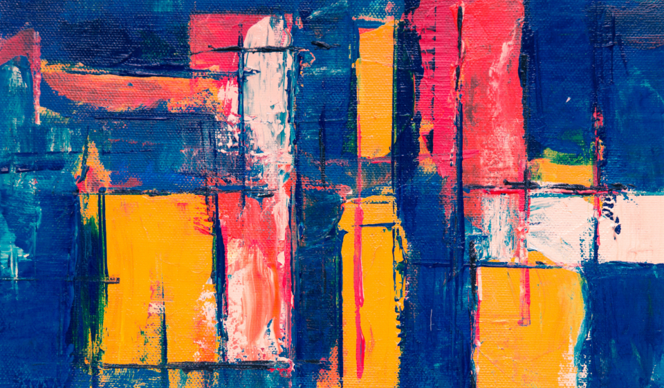 colorful abstract painting art creative design artist canvas acrylic multicolor close up red orange blue lines texture