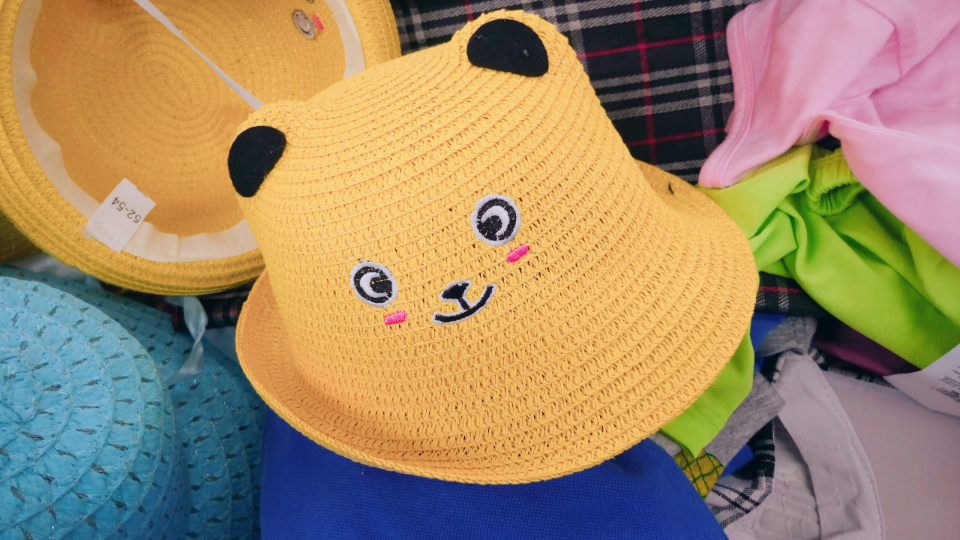 kitten cat smile yellow shop hat kids fun