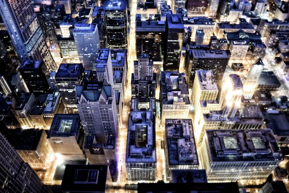 architecture buildings office residential city lights night high rise urban metro aerial