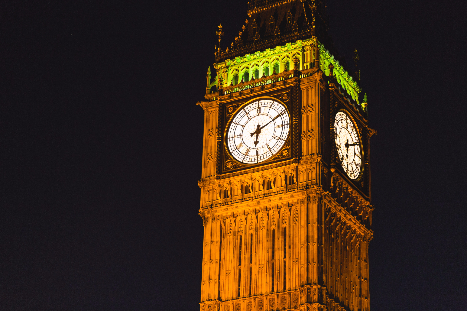 big ben london night tower england uk black dark
