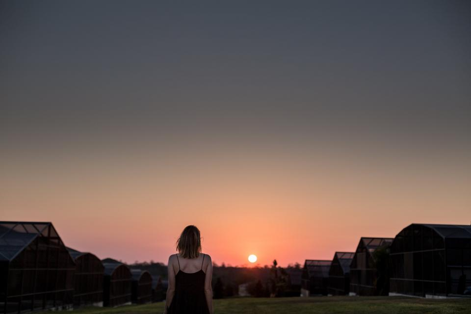 people woman girl female thinking alone landscape outdoor sunset view houses green grass hill top sky