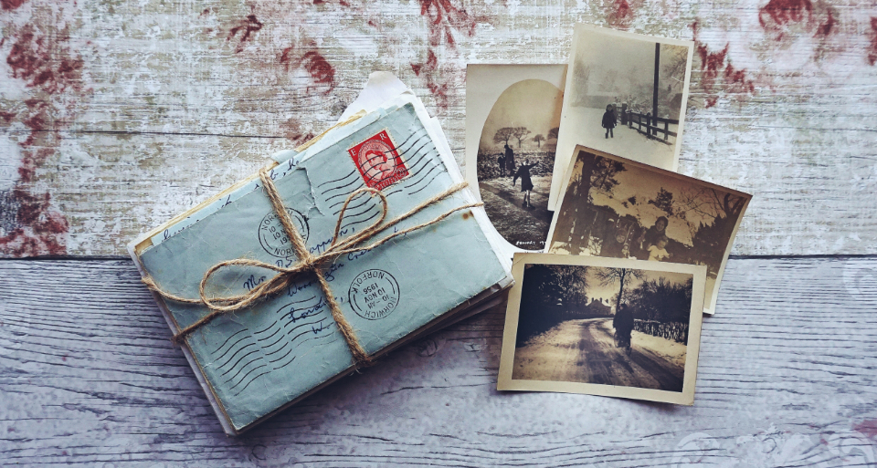 vintage letters photos flat lay rustic desk mail retro old memories history