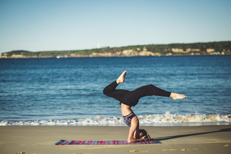 yoga fitness exercise health working out pose girl woman people blue sky beach sand water ocean sea sunshine summer