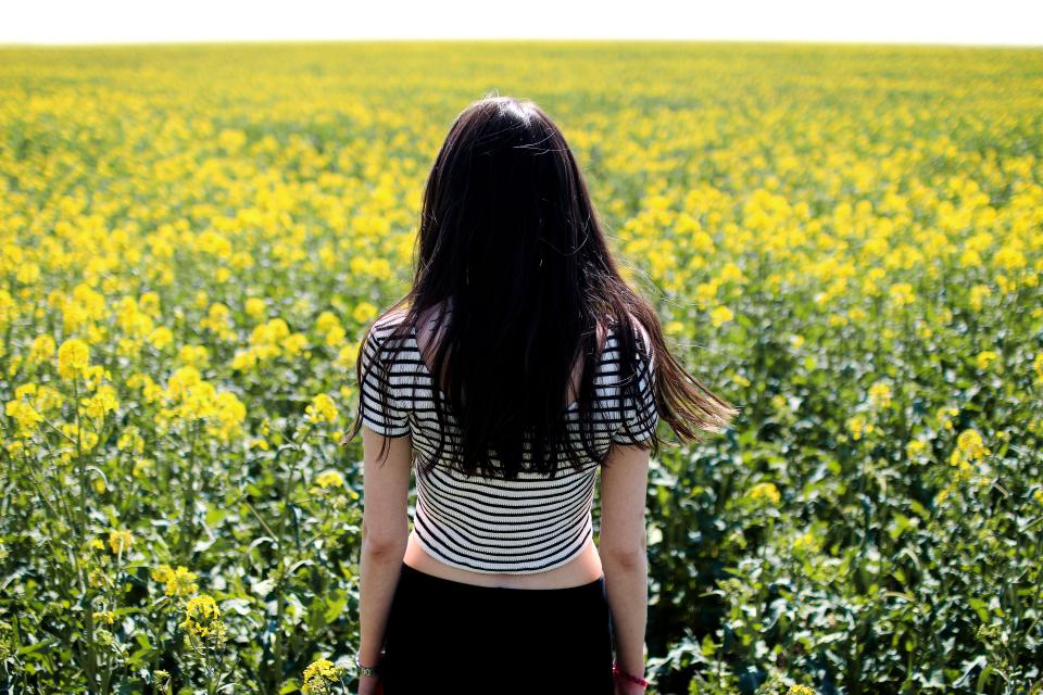 yellow flowers farm field garden nature outdoor people unwind relax girl female lady
