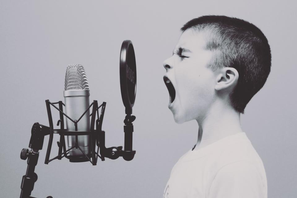 people boy kid child singing screaming music microphone filter singer black and white