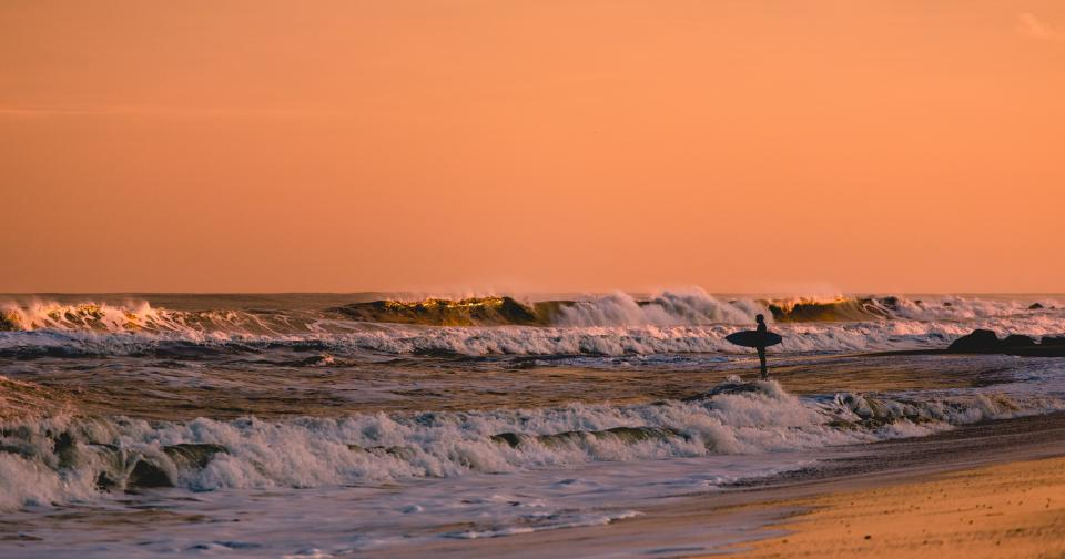 sea ocean water waves nature beach coast shore surfer man alone adventure sunset