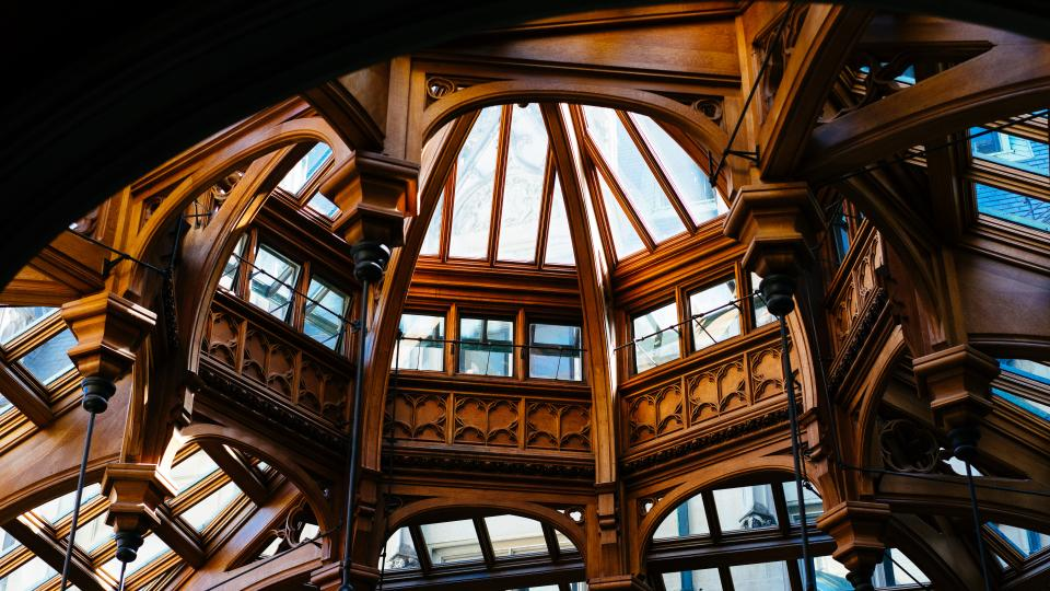 structure dome wood brown architecture glass steel