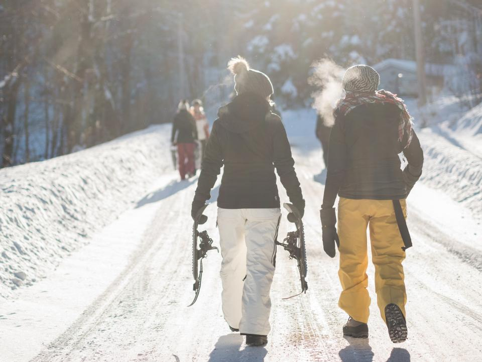 people men travel outdoor snow winter cold weather