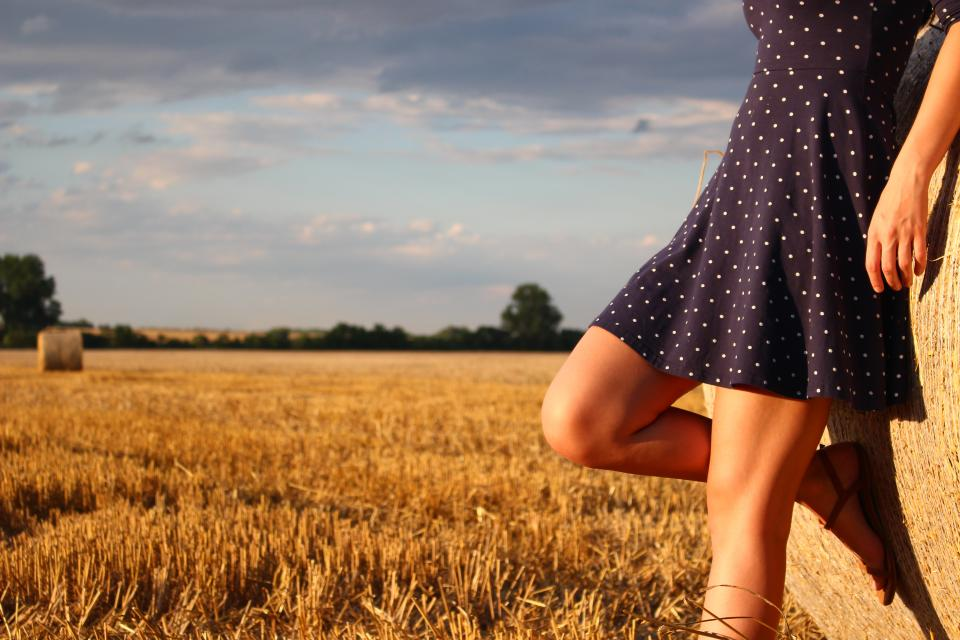 grass field farm cloud sky sunny day people woman girl dress leg