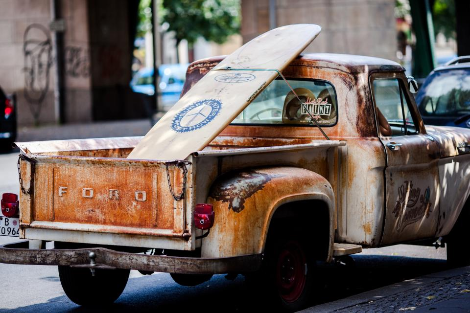 truck vehicle transportation old vintage rusty surf board