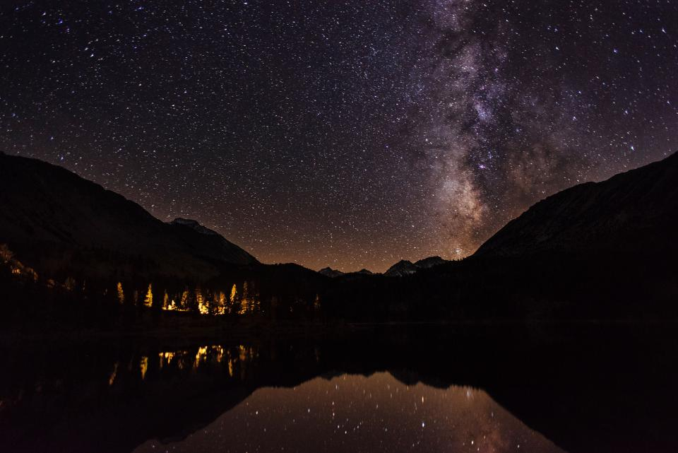 stars galaxy astronomy sky night evening dark mountains landscape nature lake river water
