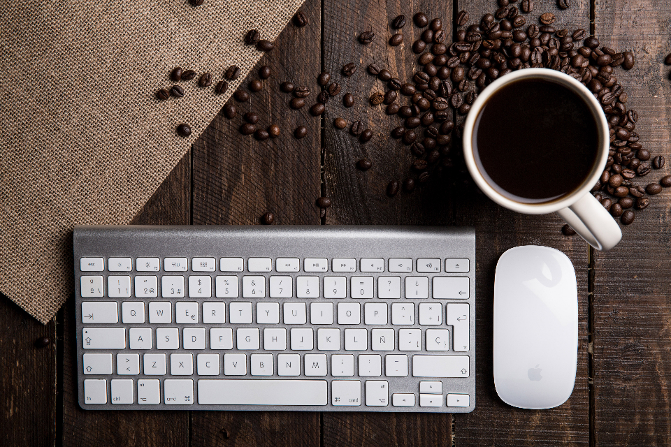 keyboard coffee mouse apple mac mighty technology drink beans desk wood