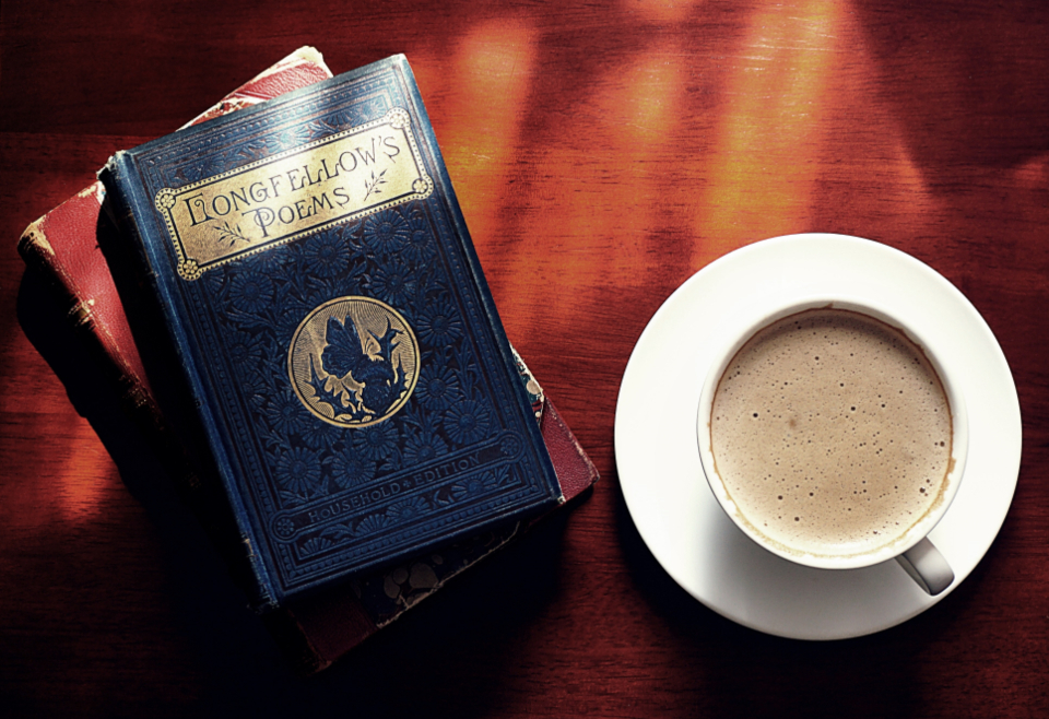 books old books poetry reading coffee cappuccino drinks literature