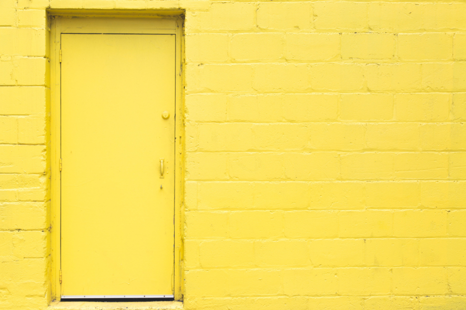 yellow door wall brick backgrounds texture urban building entrance industry exterior architecture doorway entry industrial structure property