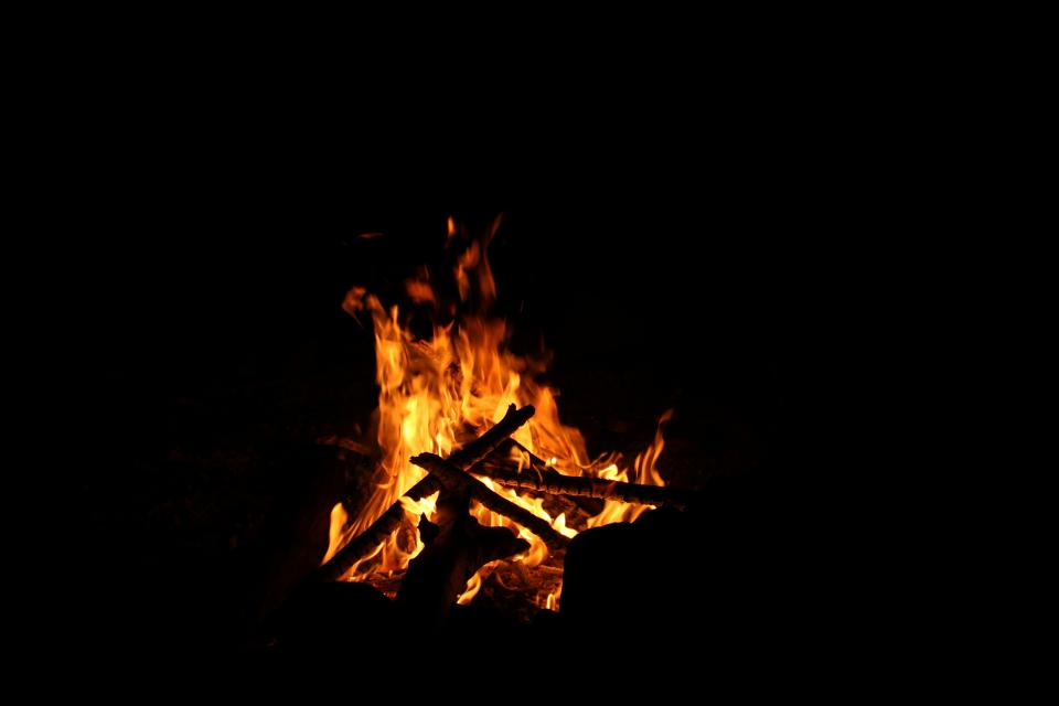 dark fire burning flame wood light hot camp