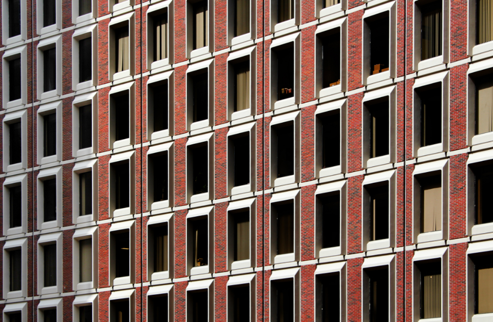 brick building pattern city urban windows facade construction architecture glass wall style exterior office apartment