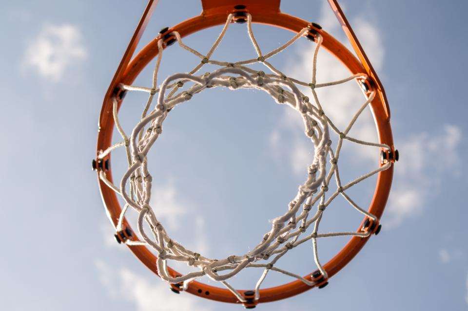 basketball net hoop sports game sky clouds sunny rim