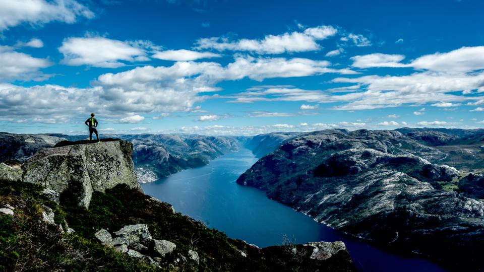 nature landscape mountains water river cliffs sky clouds people man travel hiking blue