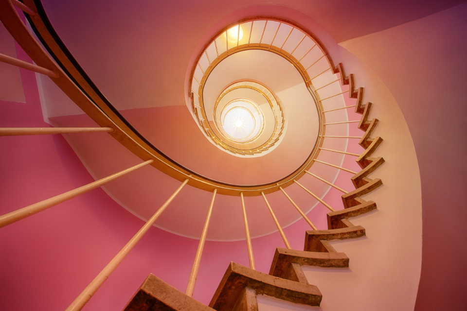 stairway light spiral pink home architecture design interior design
