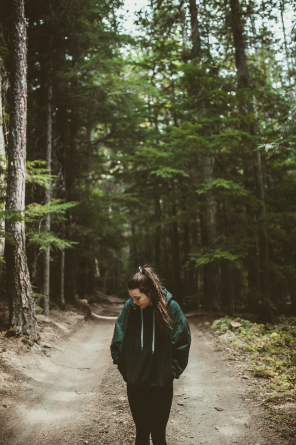 girl road trail dirt road hiking nature forest trees hoodie people young woods wilderness hiking trekking jacket
