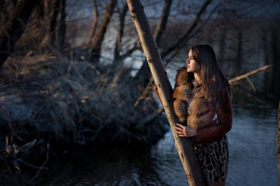 people woman beauty fashion cold weather fur nature trees