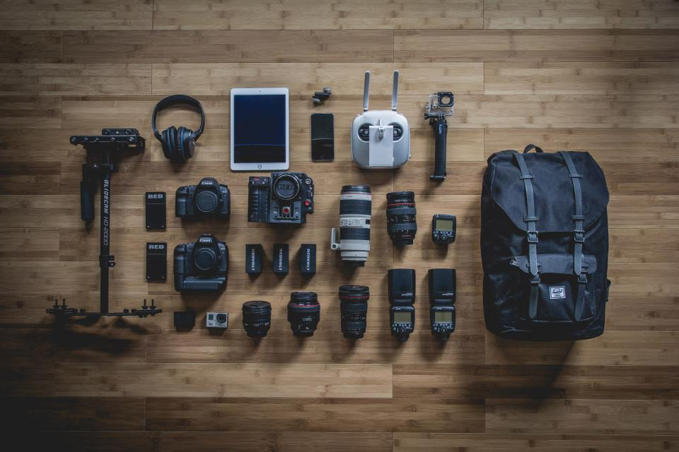 photography gear equipment camera lens flash backpack headphones technology gopro tripod hardwood objects