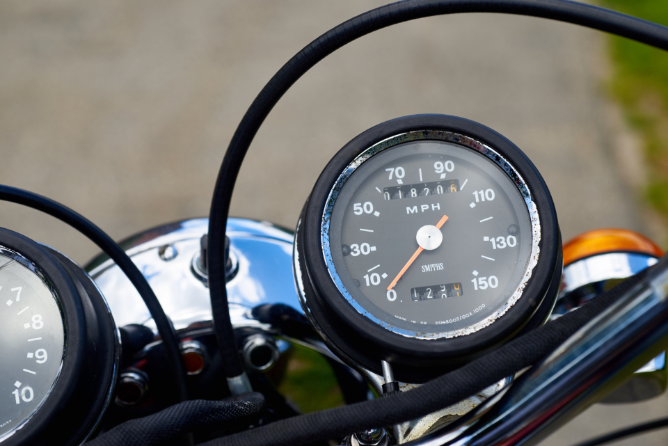 vintage motocycle gauges old cycle speedometer chrome retro motorbike custom bike transportation ride mph cables