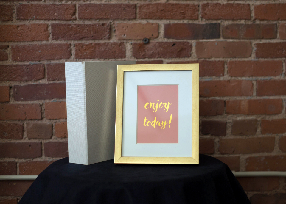 inspirational word art quote goal design creative abstract business motivating background concept frame brick wall table