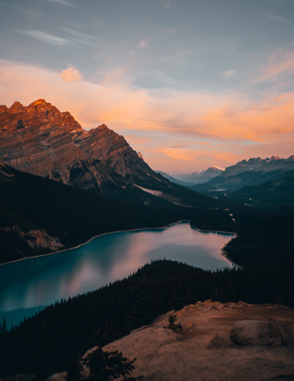 mountain lake dusk sunset sky clouds nature outdoors landscape water explore travel hike adventure wanderlust scenic view