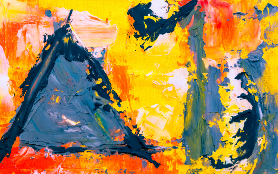 abstract art painting bold colorful bright design artist canvas close up paintbrush acrylic texture oil orange blue yellow