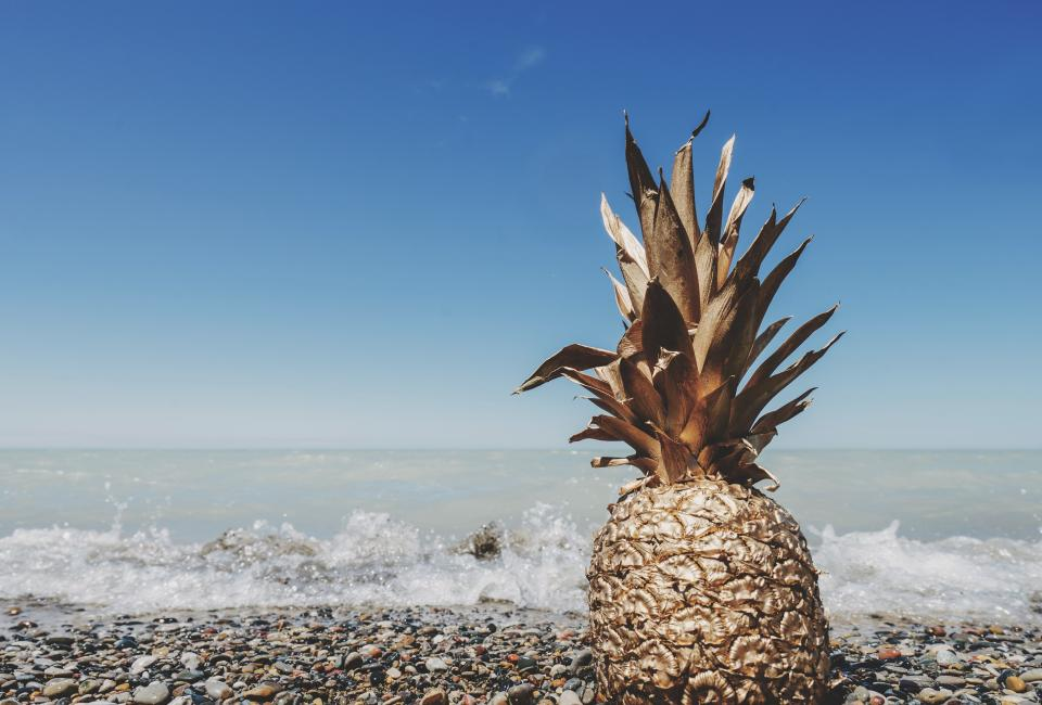 pineapple dessert appetizer fruit juice crop beach ocean sea sand waves gold paint sky
