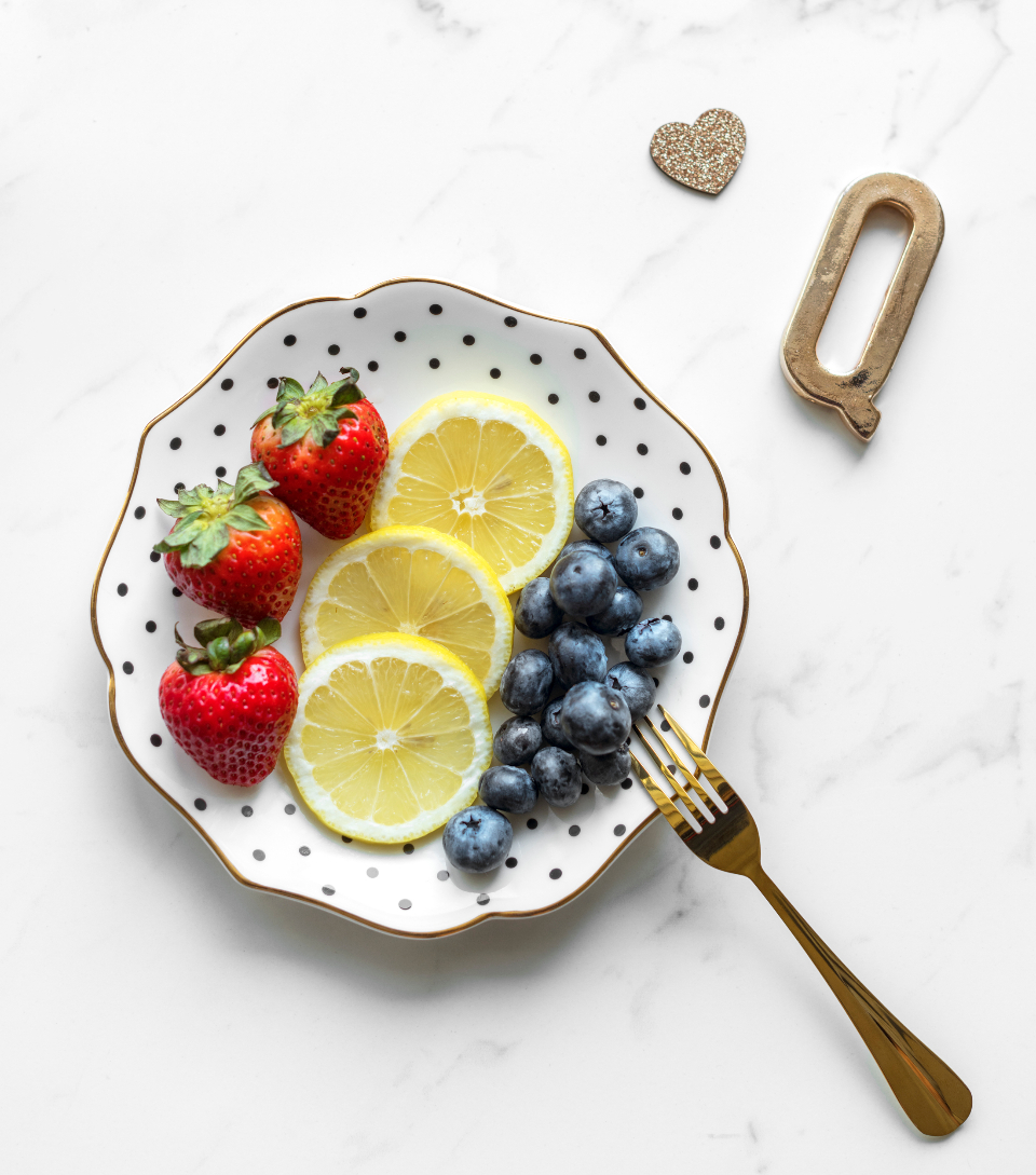 blueberry breakfast colorful delicious dessert detox diet eating feminine fork fruit girly healthy juicy lemon marble morning nutrition plate raw strawberry summer table texture top view vitamin aerial aerial view