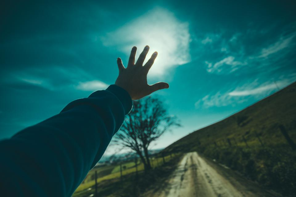 guy man male people hands reach out nature sky clouds horizon paths roads trees silhouette