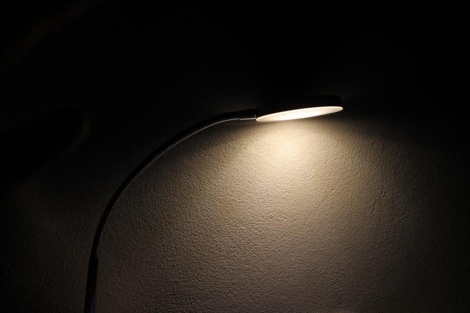 lamp light bulb wall dark night
