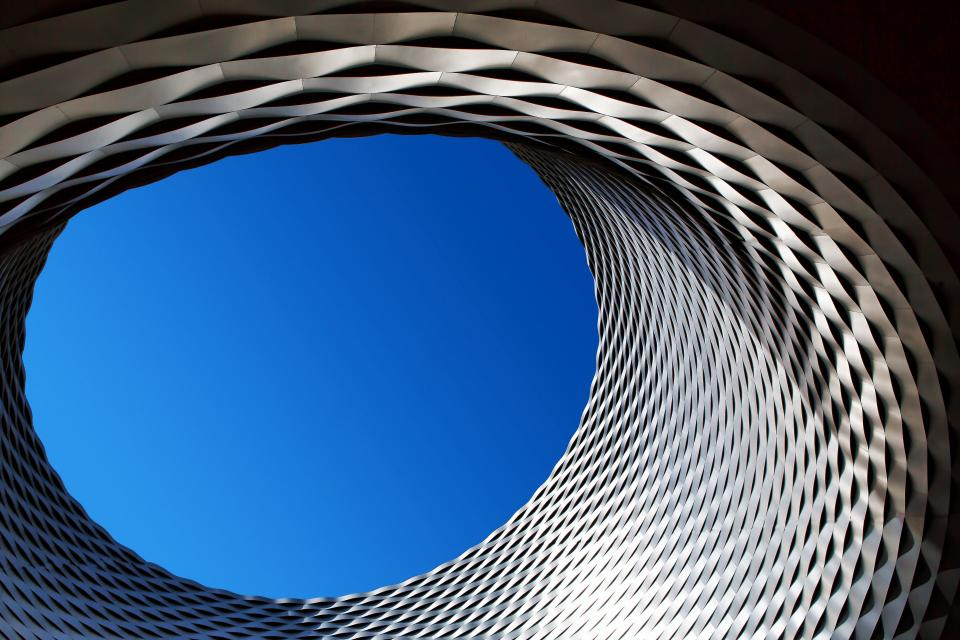 architecture building infrastructure blue sky hole sunny day