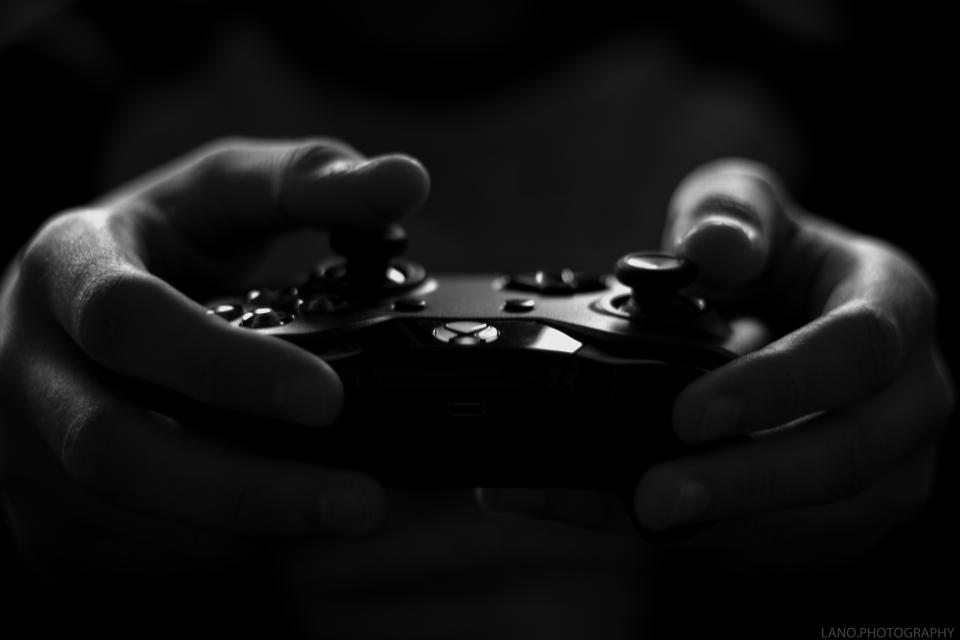black and white hand blur video game