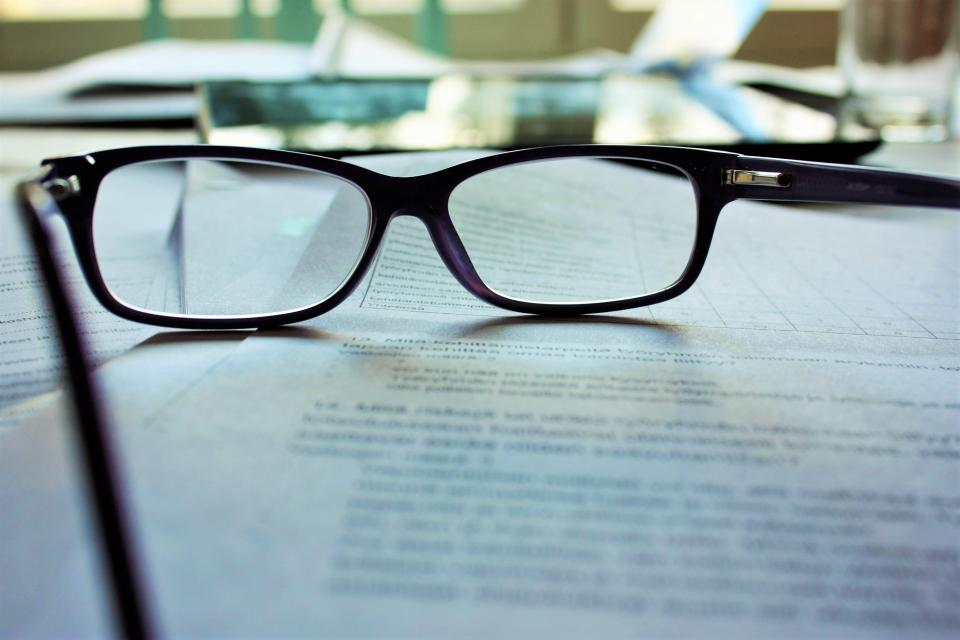 eyeglasses paper works office blur