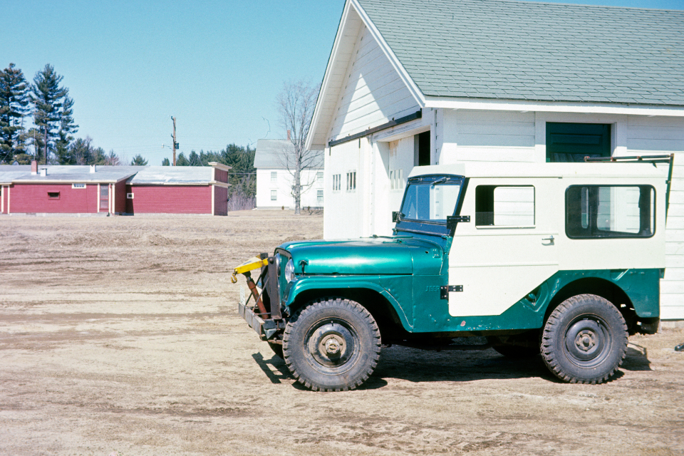 old jeep vintage truck auto farm green garage barn 4x4 antique transport vehicle machine landscape classic