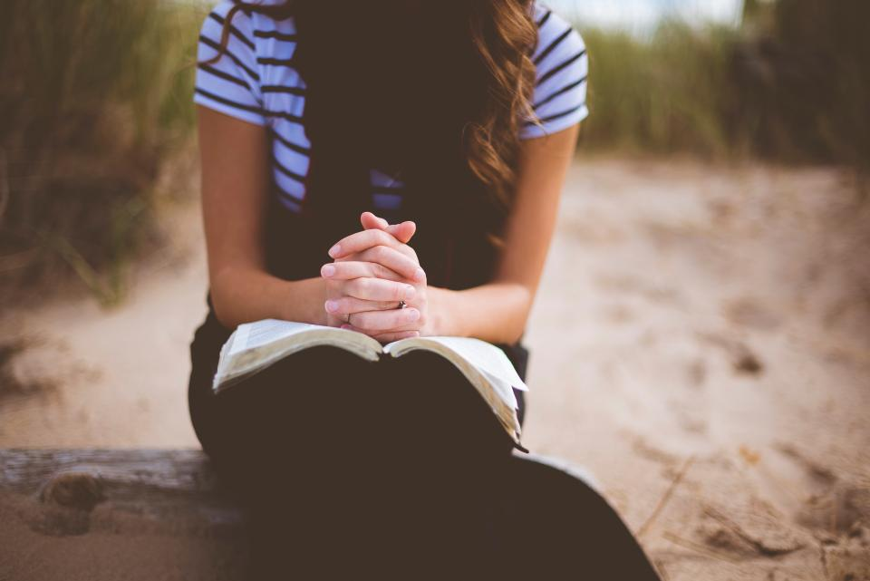 people girl alone sitting wood reading book bible blur
