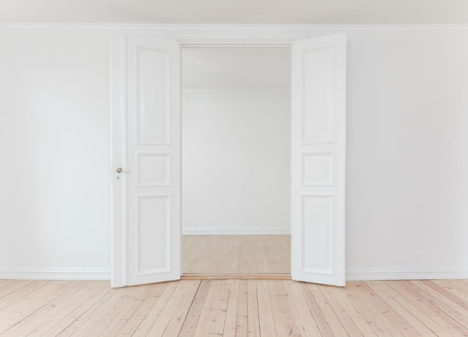 interior indoor white wall open door floor room