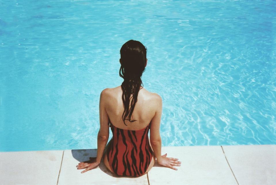girl woman swimming pool swimsuit long hair brunette water summer people beauty