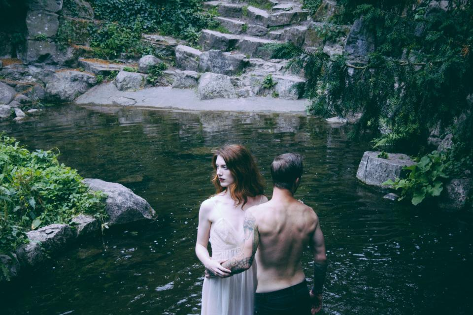 people girl guy photography river water outdoor nature green trees plant rocks waterfalls