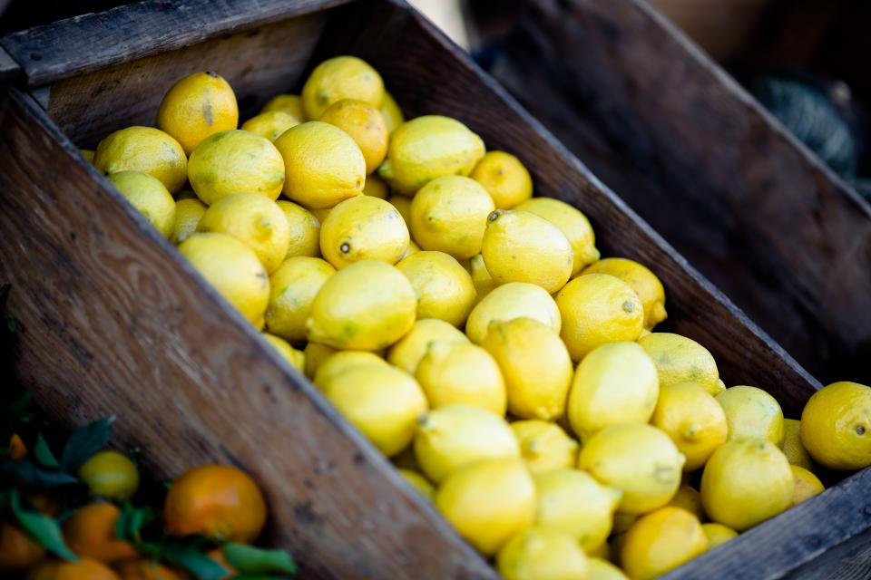 lemons fruits basket market food healthy