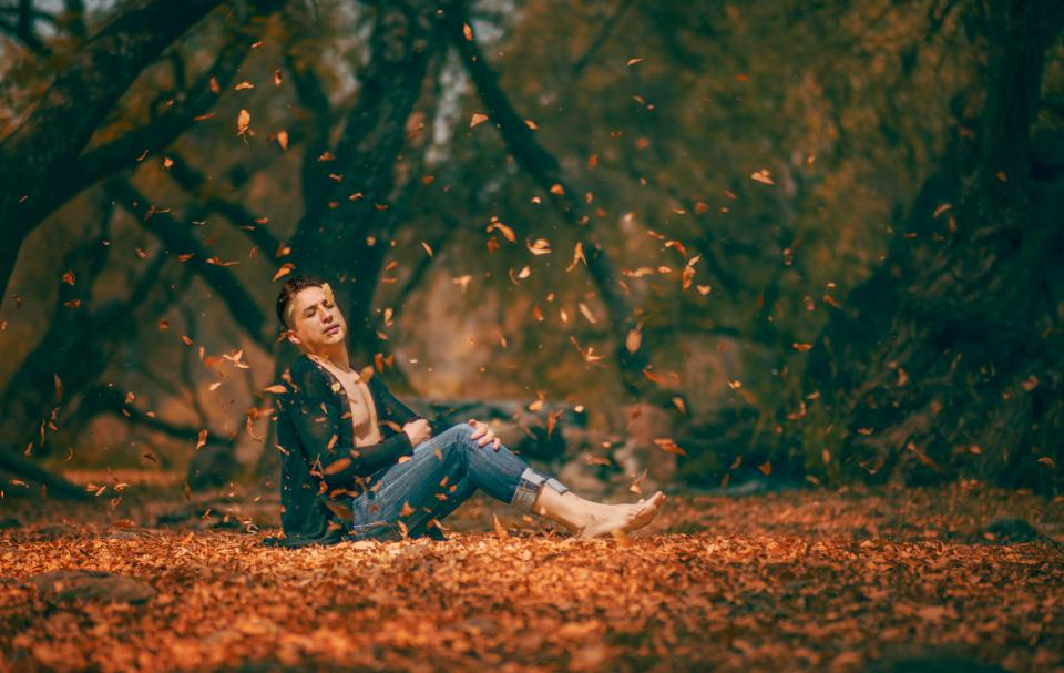 people man fashion beauty nature leaves autumn fall woods forest trees