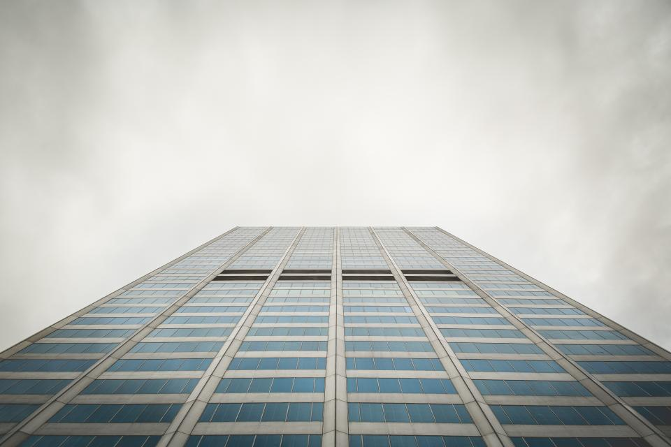 building architecture windows business corporate office sky clouds cloudy grey city urban