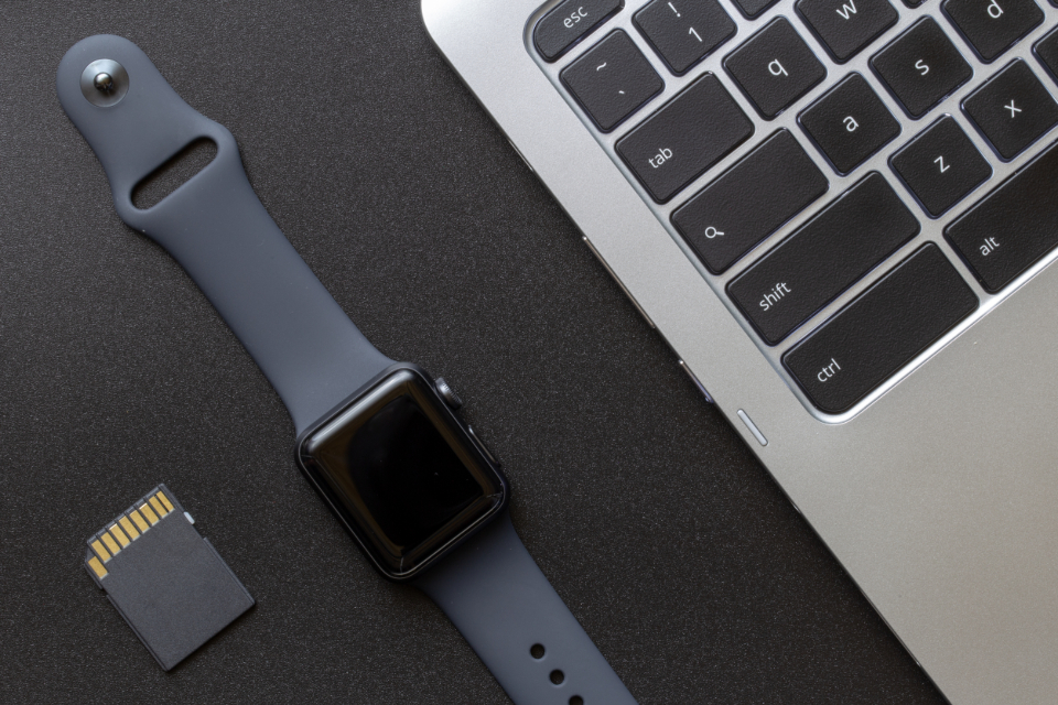 apple watch technology wearable gear smartwatch dark space gray texture flat lay top background macro close up equipment accessories device digital gadget wireless laptop keyboard