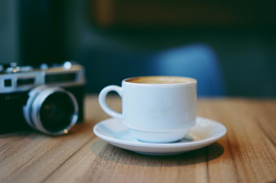 camera photography table blur cup saucer coffee hot drink espresso