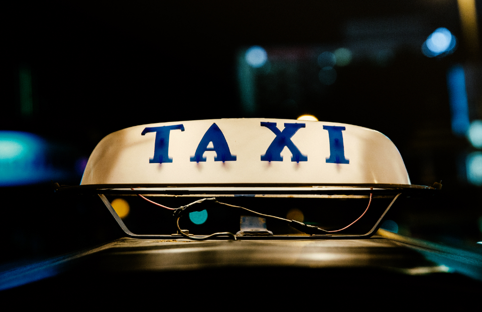 taxi sign neon car vehicle glow light night bokeh transport