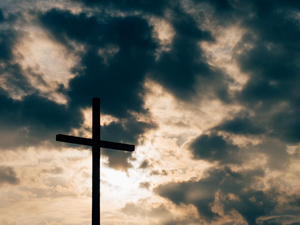 cross sky clouds sunset dusk silhouette shadow religion catholic christian church